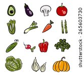 set of fresh vegetables | Shutterstock .eps vector #265603730