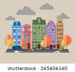 snow covered city. color... | Shutterstock .eps vector #265606160
