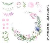 set of flowers painted in... | Shutterstock . vector #265608548