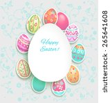 spring holiday card with easter ... | Shutterstock .eps vector #265641608