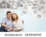 young happy family couple... | Shutterstock . vector #265646540