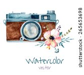 vintage watercolor camera with... | Shutterstock .eps vector #265653698