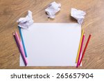 colorful pencils on clear white ... | Shutterstock . vector #265657904