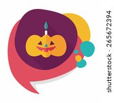 pumpkin candle flat icon with... | Shutterstock .eps vector #265672394