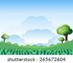 green landscape with cloud on... | Shutterstock .eps vector #265672604