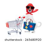 Stock photo crazy and silly jack russell dog diva lady with bag pushing empty supermarket cart isolated on 265680920