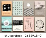 set of vintage creative cards... | Shutterstock .eps vector #265691840