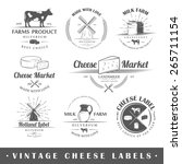 set of vintage labels cheese.... | Shutterstock .eps vector #265711154
