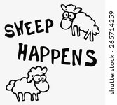 cute cartoon sheep with funny...   Shutterstock .eps vector #265714259