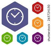 clock rhombus icons set in... | Shutterstock . vector #265724150