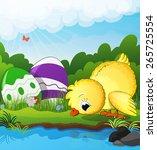 chicken and easter eggs near... | Shutterstock .eps vector #265725554