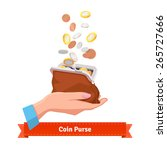 coin rain to a purse in woman... | Shutterstock .eps vector #265727666