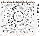 hand drawn vector floral... | Shutterstock .eps vector #265729244