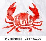 Watercolor Crab With Lettering...
