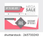 mega sale with 50  discount and ... | Shutterstock .eps vector #265733243