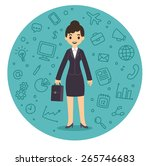 pretty young businesswoman in... | Shutterstock .eps vector #265746683