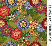 seamless pattern with different ... | Shutterstock .eps vector #265763489