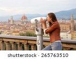 beautiful girl impressed view... | Shutterstock . vector #265763510