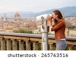 beautiful girl impressed view... | Shutterstock . vector #265763516