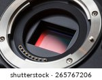Digital Camera APS-C Sensor and lens mount close-up