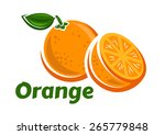 orange fruits poster in cartoon ... | Shutterstock .eps vector #265779848