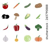 vector set of vegetables icons. ... | Shutterstock .eps vector #265790888