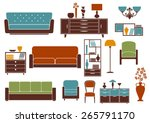flat furniture and interior...   Shutterstock .eps vector #265791170