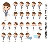 set of various poses of gray... | Shutterstock .eps vector #265795610