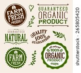 set of organic and farm fresh... | Shutterstock .eps vector #265805420