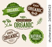 set of organic and farm fresh... | Shutterstock .eps vector #265805423