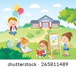 pupils studying in the school... | Shutterstock .eps vector #265811489