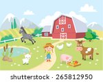 farm animals with barn and... | Shutterstock .eps vector #265812950