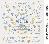 set of different hand drawn... | Shutterstock .eps vector #265813058