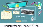 designer office workspace with... | Shutterstock .eps vector #265814228