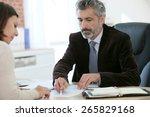 attorney meeting client in... | Shutterstock . vector #265829168