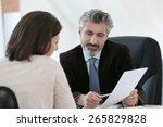 attorney meeting client in... | Shutterstock . vector #265829828
