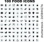 vector food icon set | Shutterstock .eps vector #265844276