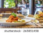 seafood pasta in tomato sauce...   Shutterstock . vector #265851458