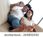 cheerful happy young couple... | Shutterstock . vector #265852433