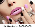 fashion nails with rhinestones...   Shutterstock . vector #265865600