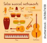 cuban salsa mambo musical... | Shutterstock .eps vector #265867658