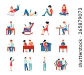 reading people flat character... | Shutterstock .eps vector #265879073