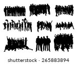 set of silhouettes of rejoicing ... | Shutterstock .eps vector #265883894