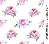 watercolor  rose  pattern ... | Shutterstock . vector #265895174