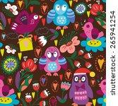 funny vector pattern of owls... | Shutterstock .eps vector #265941254
