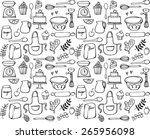 baking kitchen icons seamless... | Shutterstock .eps vector #265956098