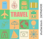 colorful retro set of travel | Shutterstock .eps vector #265960430
