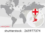 world map with magnified... | Shutterstock .eps vector #265977374