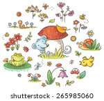hand drawn flowers  insects and ... | Shutterstock .eps vector #265985060