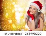 christmas  women  fashion model. | Shutterstock . vector #265990220